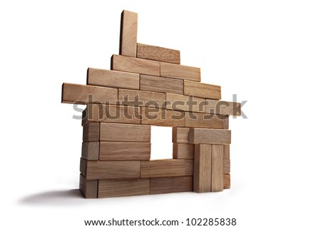 layout of the house out of wooden sticks