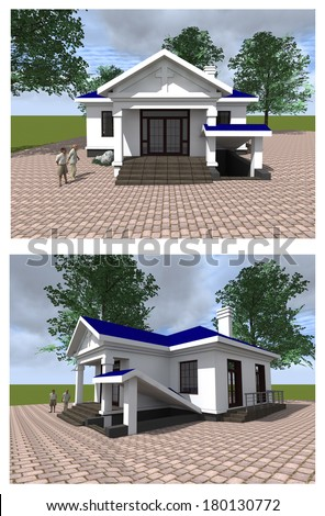 Layout of the modern church / Layout modern house of worship with an area.