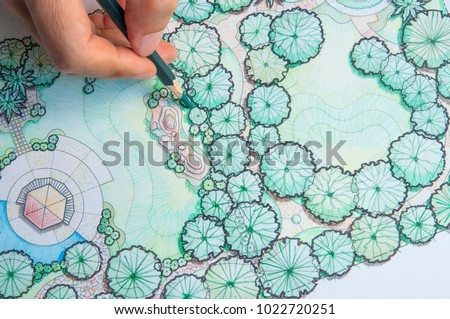 layout plan of home landscape design or garden design drawing by hand with color pencil on white paper  #1022720251