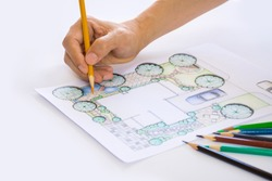 layout plan of home landscape design or garden design or landscape architecture drawing by hand with color pencil on white paper with drawing tools and group of color pencils, selective focus