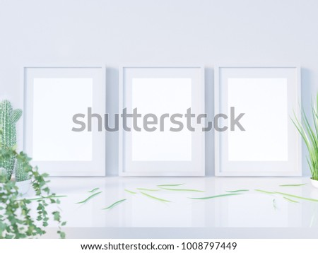 Layout poster frame, front view, with decor elements, flowers and blank copy space on a white background. 3D illustration