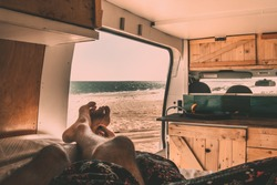 Lazy Afternoon in a converted van by the beach, this is van life. Carnarvon, Western Australia. Home is where you park.