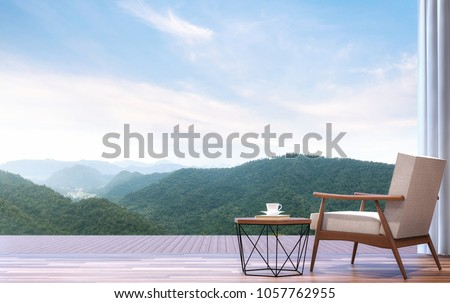 Lazy chair with mountain view 3d render.The room has wooden floor.Furnished with wood and fabric furniture.Looking out to the terrace and mountains view.