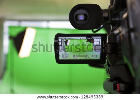 LCD display screen on a High Definition TV camera in a green screen studio.