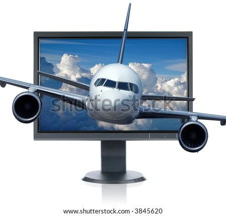 LCD monitor and airplane isolated over a white background