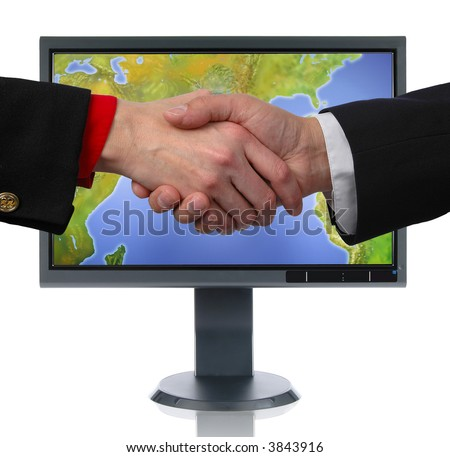 LCD monitor and hands isolated over a white background