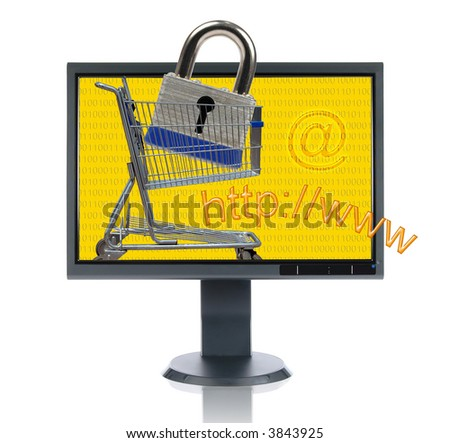 LCD monitor and Internet shopping isolated over a white background