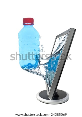 LCD monitor and taking off bottle of water