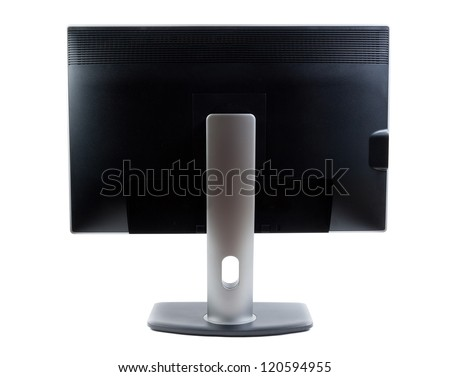 LCD monitor, rear view on a light background