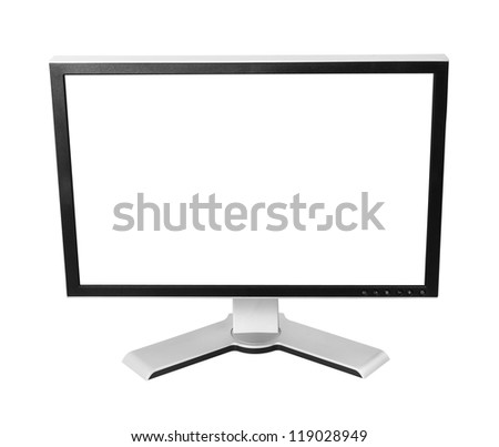 LCD monitor with blank screen. Isolated on white background with clipping path.