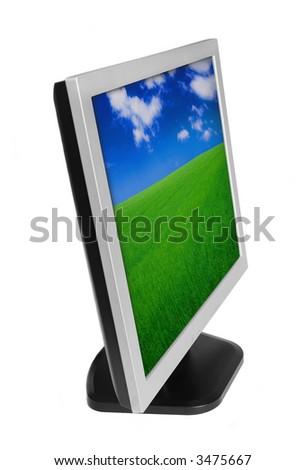 Wallpaper For Lcd Monitor. stock photo : LCD monitor with color wallpaper on the screen