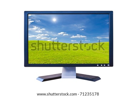 LCD Monitor with green grass meadow isolated