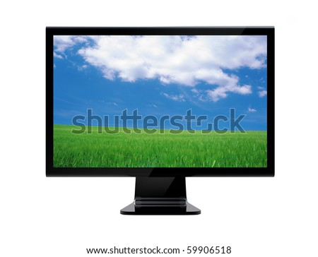 stock photo : Lcd monitor with meadow wallpaper