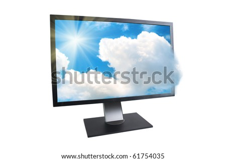 LCD monitor with sun and clouds outside isolated on white