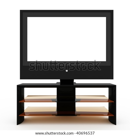 LCD screen TV with white display and table