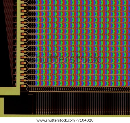 LCD structure with pixels, microscope picture