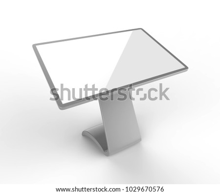 LCD Touch Screen Display Interactive Kiosk Digital Signage Hd Screen,Touch Display Kiosk Table Product. 3d render illustration.