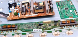 LCD TV circuit boards Disassembly and repair of modern LCD TV. Repair of modern electronics.