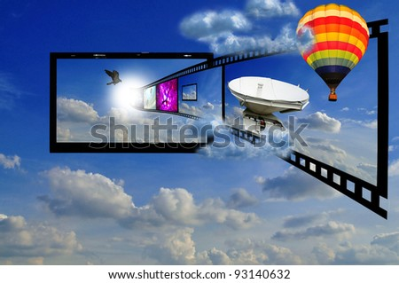LCD TV in the sky as concept of 3D LCD TV