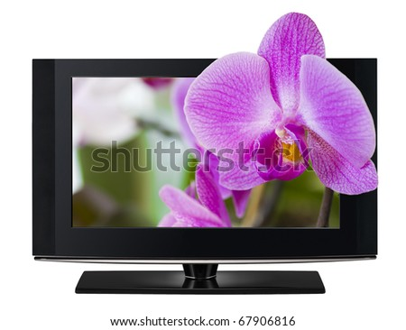 LCD TV panels. Television 3D production technology concept.
