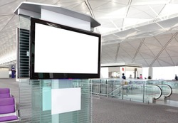 LCD TV with empty copy space at airport shot in asia, china