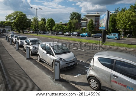 LE CHESNAY FRANCE MAI 25 2015 Cars Autolib parked for rental next to Paris Autolib is a french carsharing service of electric car