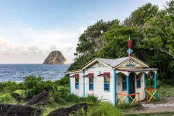 Le Diamant, Martinique, FWI - The House of the convict (Maison du Bagnard) and Diamond Rock