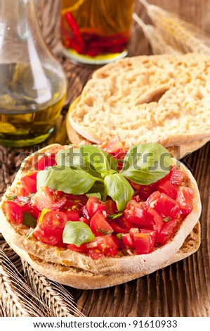 Le Freselle with fresh bruschetta and olive oil