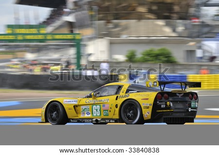 LE MANS, FRANCE - JUNE 13-14: No. 63 Corvette C. 6 R driven by Jan Magnussen, Johnny O'Connell and Antonio Garcia racing in the 24 hour endurance race at Le Mans in France on June 13-14, 2009 - stock photo