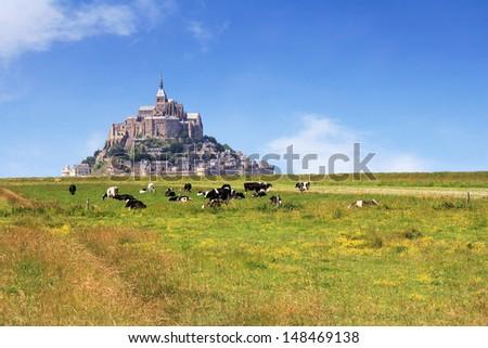 Le Mont Saint Michel Abbey, Normandy / Brittany, France - stock photo