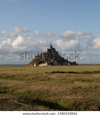 Le Mont Saint Michel, an UNESCO world heritage site in France on a sundown. View of the castle from the field. Medieval city and abbey on the mountain of the same name, surrounded by yellowing #1480458866