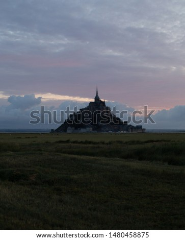 Le Mont Saint Michel, an UNESCO world heritage site in France on a sundown. View of the castle from the field. Medieval city and abbey on the mountain of the same name, surrounded by yellowing #1480458875