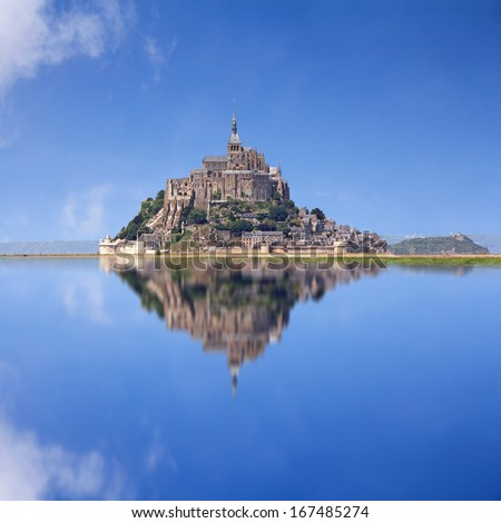 Le Mont Saint Michel, an UNESCO world heritage site in France, with reflection