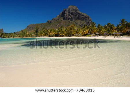 Le Morne Brabant mountain with tropical lagoon on south coast of Mauritius Island
