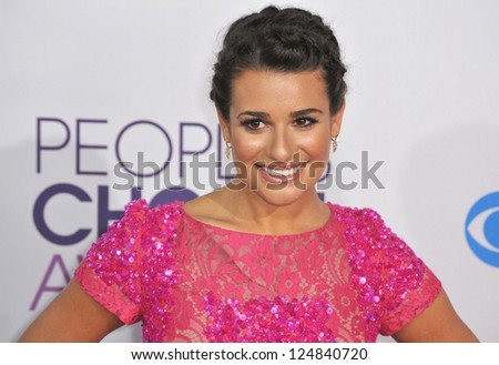 Lea Michele at the People's Choice Awards 2013 at the Nokia Theatre L.A. Live. January 9, 2013  Los Angeles, CA Picture: Paul Smith - stock photo