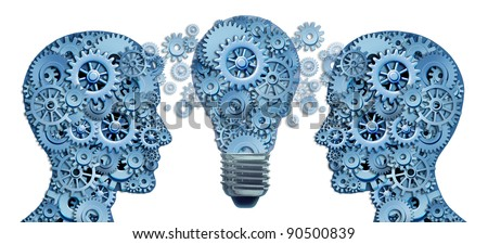 Lead and Learn Innovation strategy with two human brains working together as a business team to find solutions and answers to challenges as gears and cogs with innovative  ligthbulb ideas concept.