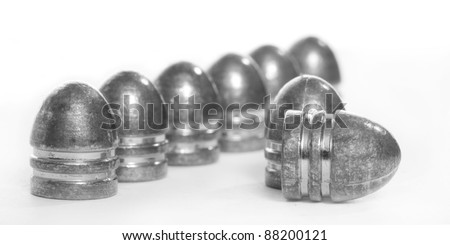 Lead bullets .45 cal for muzzle guns. Close up with shallow DOF.