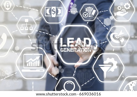 Lead Generation Analysis Business Marketing Strategy Financial Concept. Man presses lead generation button on virtual touch screen.