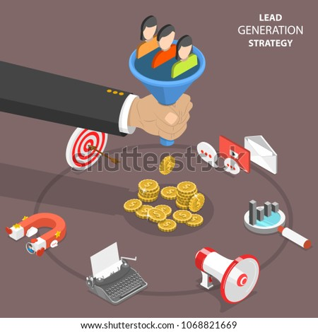 Lead generation strategy flat isometric concept. Marketing process of conversion rate optimization and generating business leads.