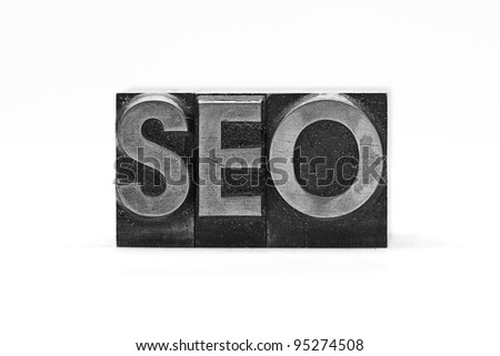 lead letter word seo on white background