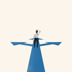 Lead the way. Young businessman, finance analyst or clerk in business clothes isolated on blue background. Concept of finance, economy, professional occupation, business, ad. Illustration