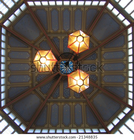 Leadenhall market ceiling lights, London England UK