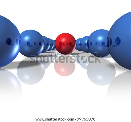 Leader and power leadership concept with blue spheres as followers and a single red ball as the authority to deliver a winning plan and business strategy for team success on a white background.