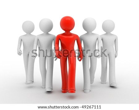 Leader of team 3d persons. Isolated on white 3d illustration.