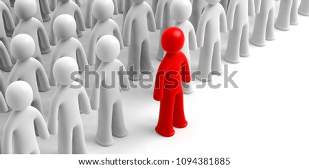 Leader or distinction concept. Crowd of white human figures, one red figure ahead, on white background, copy space. 3d illustration