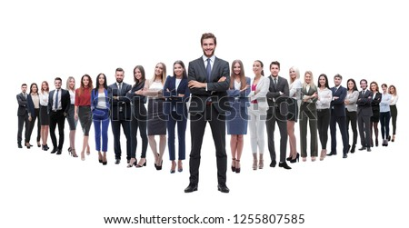 leader standing on the background of a large business team