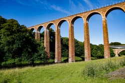 Leaderfoot Viaduct, also known as the Drygrange Viaduct, a railway viaduct over the River Tweed, near Melrose, Scottish Borders, Scotland