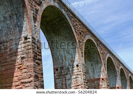 Leaderfoot Viaduct spanning the river Tweed in the Scottish Borders.