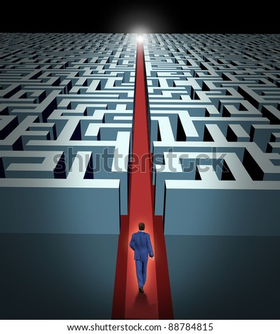 Leadership and business vision with strategy in corporate challenges and obstacles in a maze with a man in a labyrinth with a clear solution shortcut path with a red velvet carpet for success.