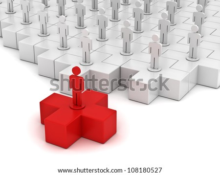 Leadership and different concept, one red 3d plus jigsaw puzzle piece in front of white plus jigsaws  on white background
